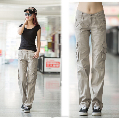 Multi-pockets Womens Straight Military Pants Overalls Spring Autumn Outdoor Climbing Hiking Training Camo Sports Cargo Trousers