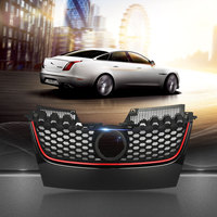 Car Red Strip Front Center Grille Bumper Grill with Red Border For VW for Jetta GTI GLI MK5 2006 2007 2008 2009