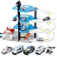 3D Car Racing Track Toy Four Storey Fire Parking Lot DIY Track Rail Car Assemble Railway Rail Car Slot Model Toys Building Block