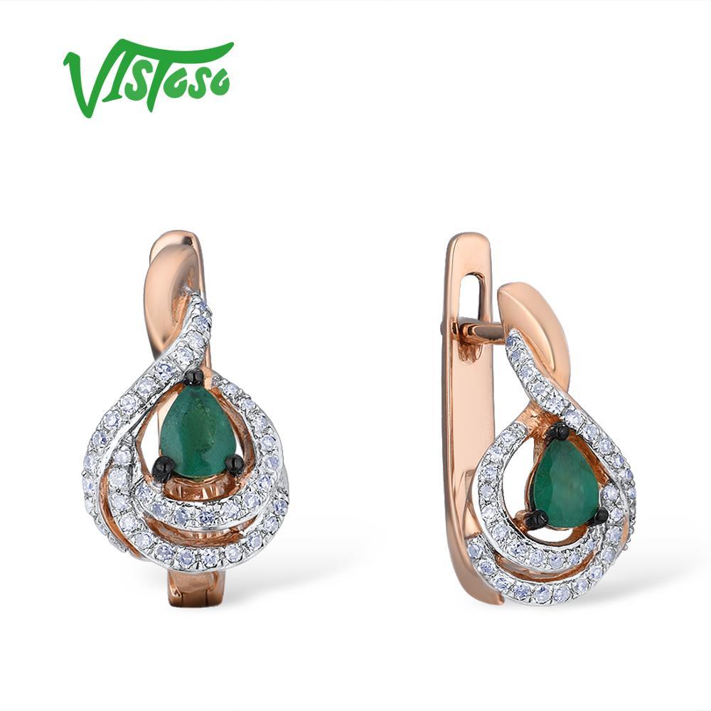 VISTOSO Gold Earrings For Women 14K 585 Rose Gold Sparkling Emerald Luxury Diamond Wedding Band Anniversary Elegant Fine Jewelry