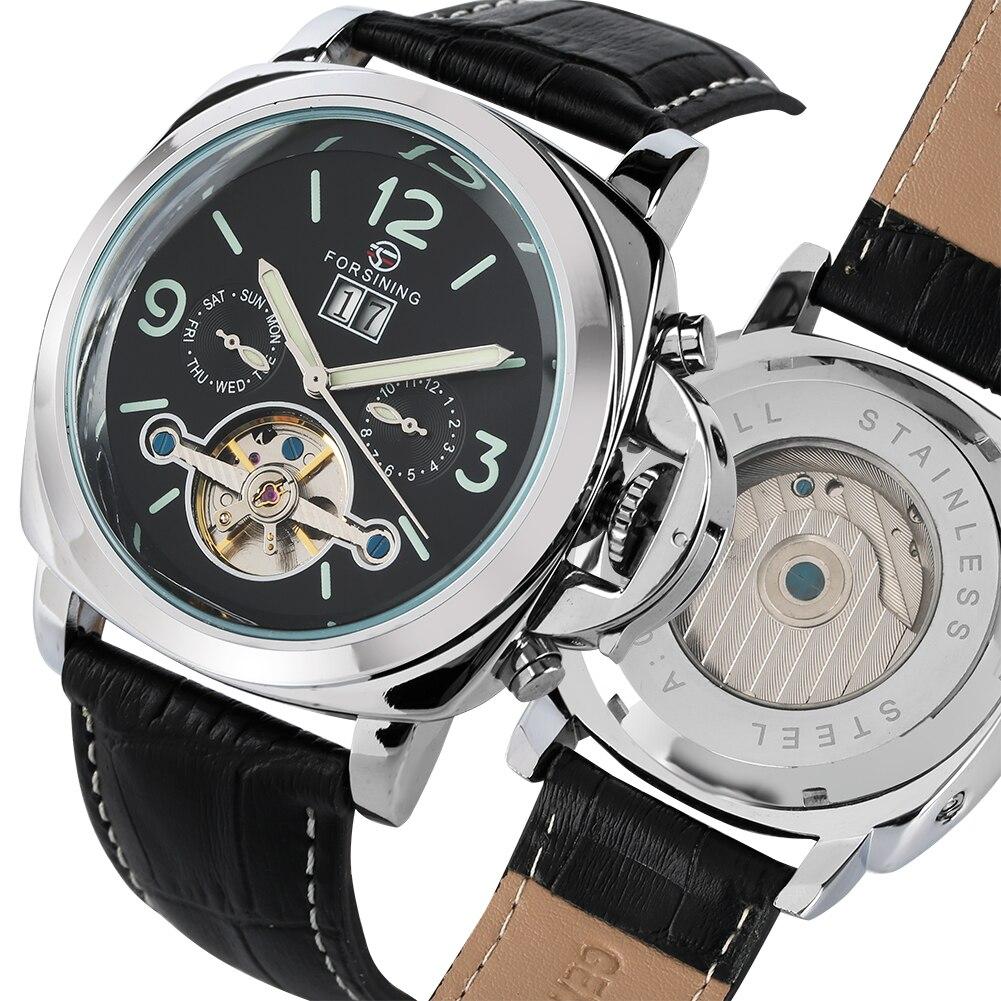 Tourbillon mężczyźni zegarek automatyczny Mechanlcal zegarek biznes mężczyzna luksusu wysokiej światła zegar z kalendarzem relogios masculino w Zegarki mechaniczne od Zegarki na  Grupa 1