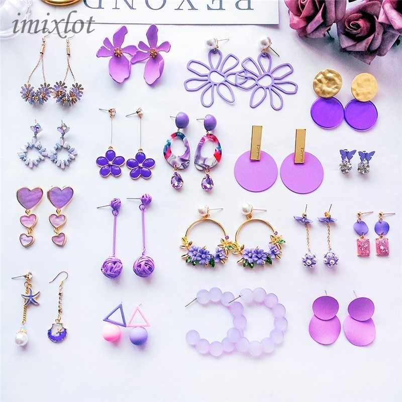 New Korean Sweet Girl Flowers Cute Earrings Purple Long Drop Earrings for Fashion Women Jewelry Accessories