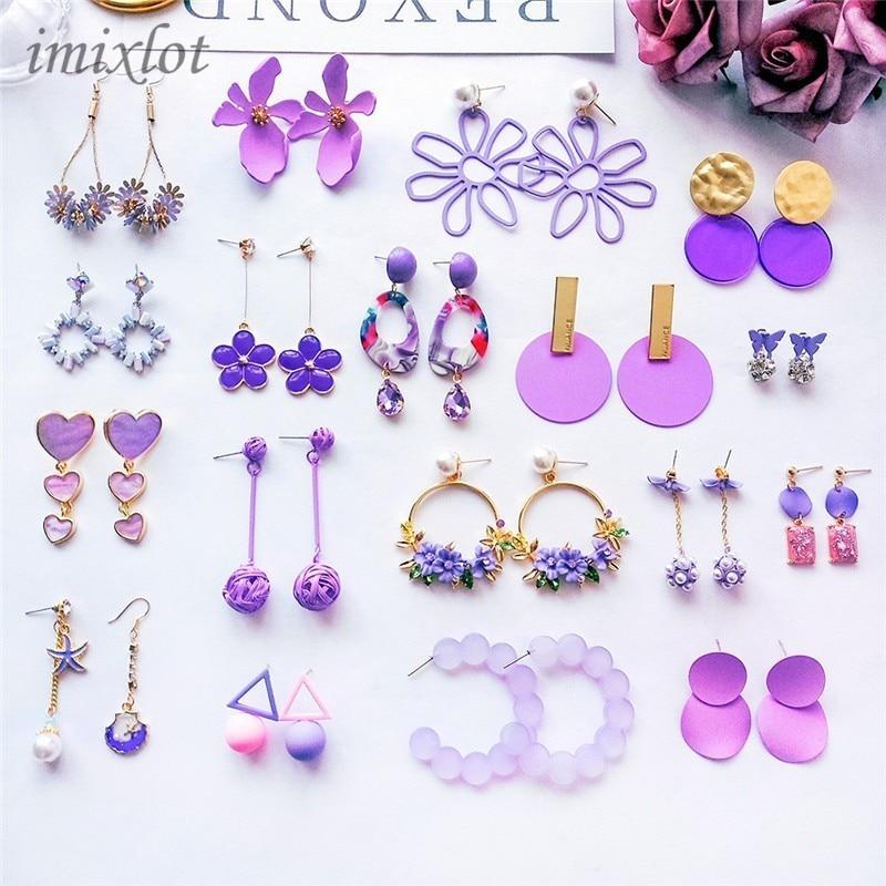 New Korean Sweet Girl Flowers Cute Earrings Purple Long Drop Earrings For Fashion Women Jewelry Accessories
