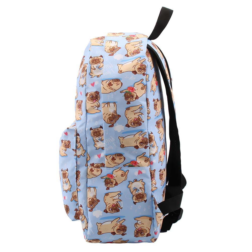 Image 3 - Deanfun Backpack for Girls Cute Pug Flower Water Resistant Heart Blue Backpacks Teenage School Bag Gift  80047-in Backpacks from Luggage & Bags