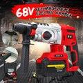 800 W martillo de impacto giratorio inalámbrico multifuncional 68 V taladro herramienta rotativa con caja de herramientas portátil