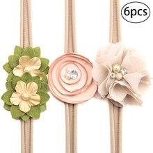 6 шт. симпатичный с кристаллами жемчуг цветок головная повязка мягкий эластичный Свадебный головной убор Волосы Галстуки