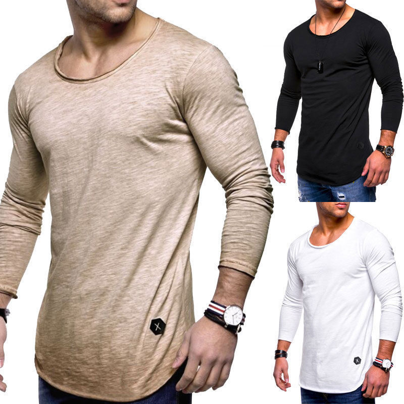 Hirigin Fashion Comfort Leisure New Men's Slim O Neck Muscle T-shirts Casual Long Sleeve Fit Man Tops Shirts Wholesale