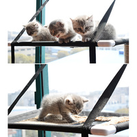 Double Layer Cat Hammock Bed Window Cat Lounger Big Suction Cups Balcony Hammock Pet Cat Climbing Sleep Window Perch Bed Holds