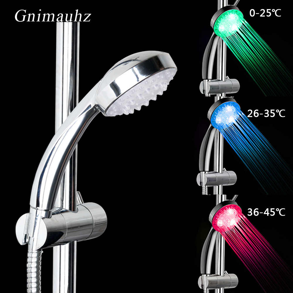 LED Changing Shower Head water Temperature Sensor Sensing Bathroom Nozzle Automatic Control Colorful Sprinkler Led Shower head