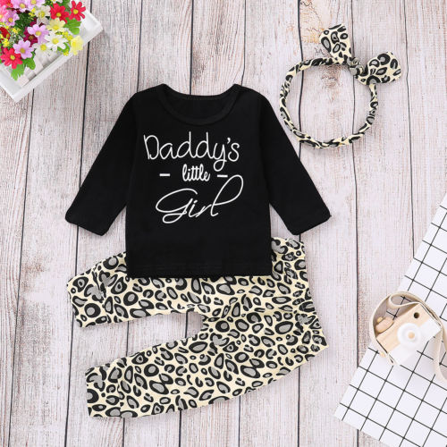 3PCS Baby Girls Outfits T-shirt+Pants Set Toddler Leopard Clothes Tracksuit US