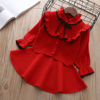 Hot baby Autumn Winter girls Clothing set Kids cotton 2 pcs Cloths Children outfits Shirt skirt Sweater suit for knitted