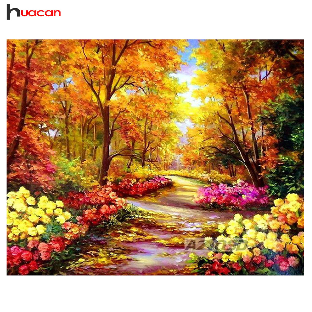 Huacan Diy Diamond Painting Kit 3D Cross Stitch Full Square Diamond Embroidery Autumn Scenic Diamond Mosaic CraftsHuacan Diy Diamond Painting Kit 3D Cross Stitch Full Square Diamond Embroidery Autumn Scenic Diamond Mosaic Crafts