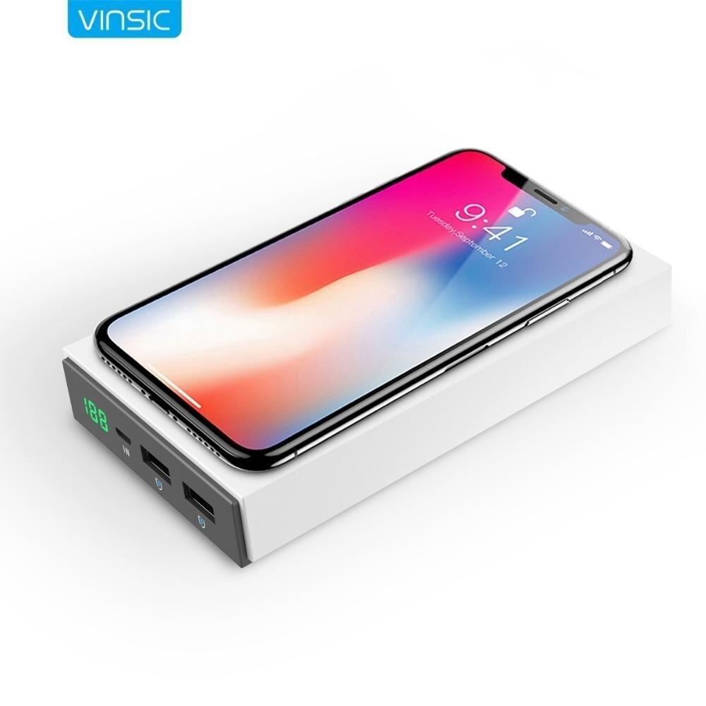 Vinsic 12000 mAh batterie externe Qi sans fil Powerbank chargeur de batterie externe alimentation pauvre charge pour xiaomi