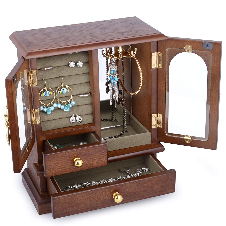 Véritable organisateur de boîte à bijoux en bois de bois dur naturel