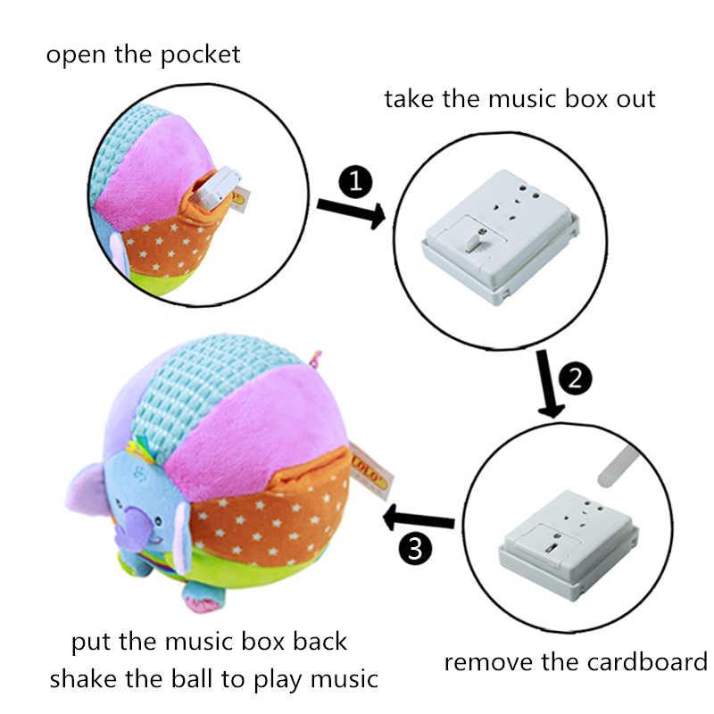 Детская мягкая плюшевая игрушка 15 см, музыкальный мяч, погремушка, животное, свинья, обезьяна, слон, мышь, детская ручка, обучающая Музыкальная Коробка внутри
