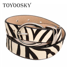 Luxury Genuine Women Belts Zebra stripe Women belt Leopard Cowskin Leather for Woman High quality belt for Dress TOYOOSKY цена
