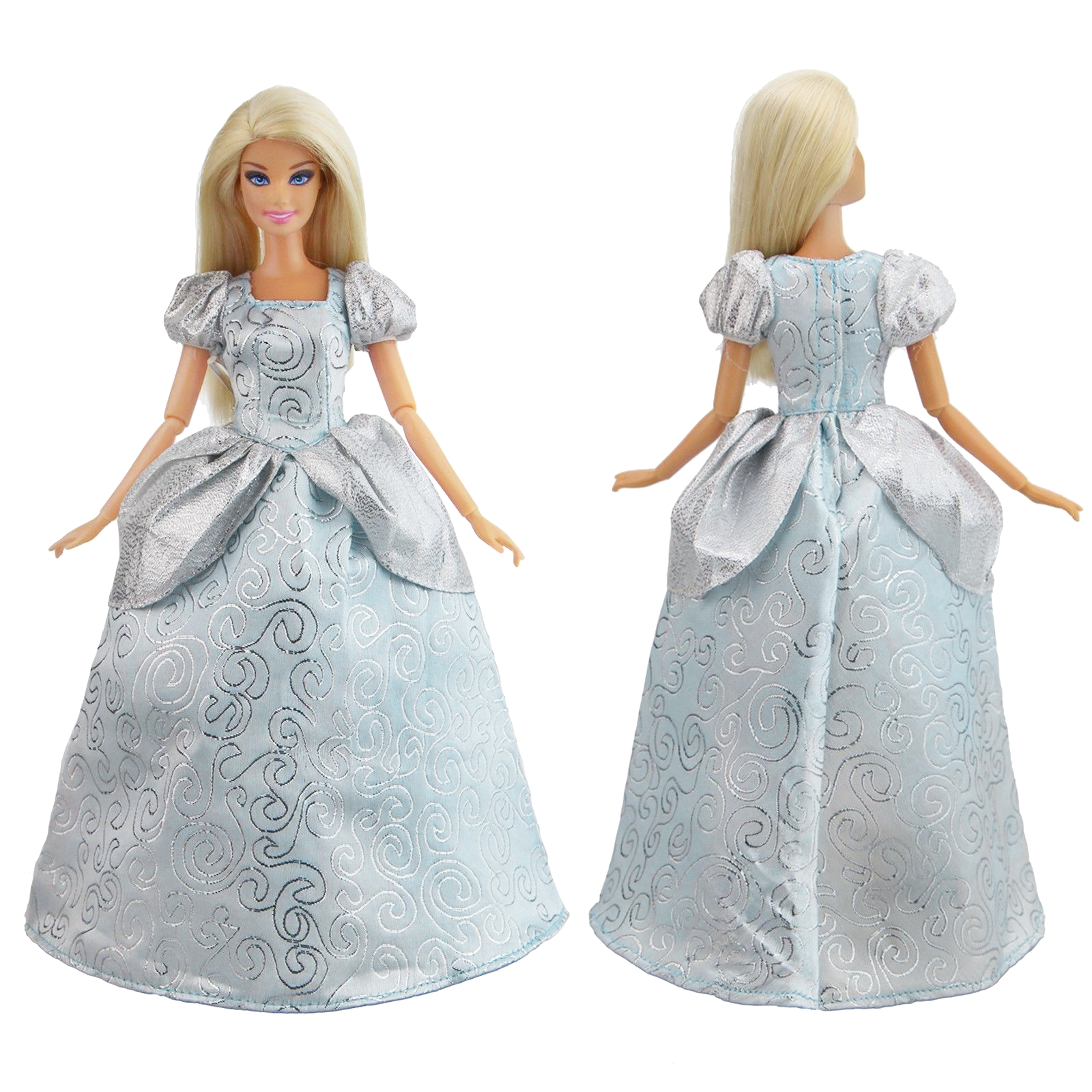 A Silver Sequined Ball Gown Made to Fit the Barbie Doll