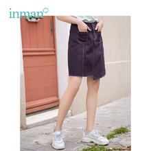 INMAN Summer New Arrival High Waist Slim Korean Fashion Casual Student Style All Matched Women Short Denim Skirt
