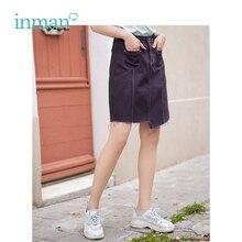 Inman verão nova chegada de cintura alta magro coreano moda casual estilo estudante todas as mulheres combinadas saia jeans curto