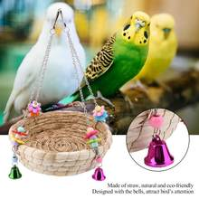 Safe Parrot Straw Durable Bird Toy Swing Nest Hanging on Birdcage(China)