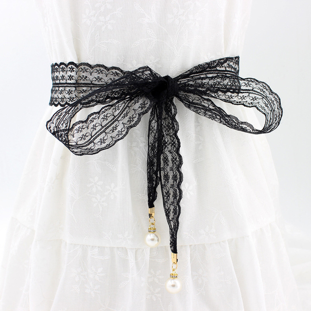 d1382b49a 2019 Hot New 1PC 4.5 160cm Solid Sexy Lace Pearl Pendant Waist Rope Belt Female  Decorative Skirt Dress Lace Knotted