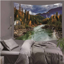 3D Waterfall Mountain Scenery Printing Wall Hippie Tapestry Polyester Fabric Home Wall Decoration LZU11