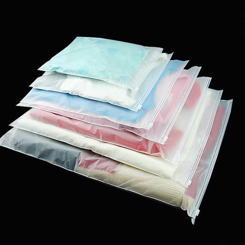 Tofok פלסטיק חלבית 10 יח'\סט אחסון שקיות שקוף רוכסן בגדי חולצות איטום פאוץ איפור גרביים גאדג 'טים מיכל