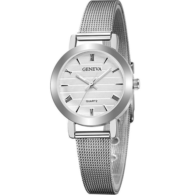 GENEVA Small Dial Watch Fashion Female Clocks Women Luxury Stainless Steel Dress