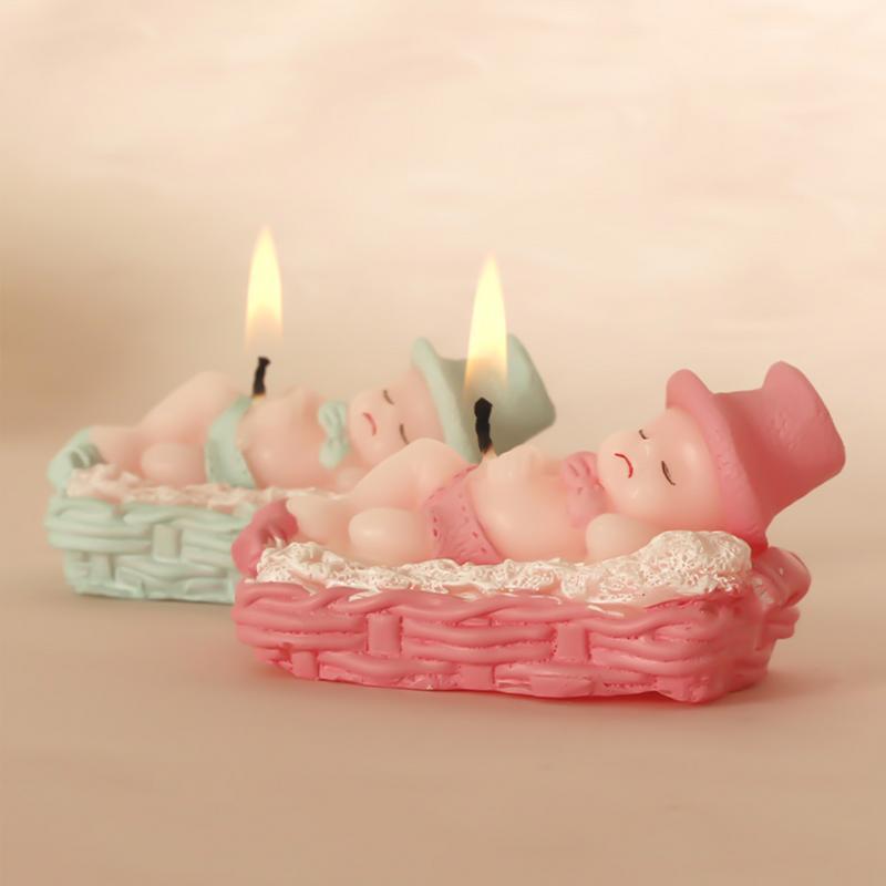 Vela de cumpleaños para bebé durmiente hecha a mano sin llama decoración de pastel de cumpleaños para fiesta de ducha de bebé Candelero hueco metálico artesanía vela luz té decoración del hogar candelero marroquí candelero decoración de boda