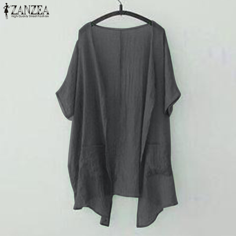 Kimono Cardigan Women's Asymmetrical Blouse ZANZEA 2020 Beach Cover Up Summer Tops Female Open Stitch Blusas Plus Size 5XL Coats