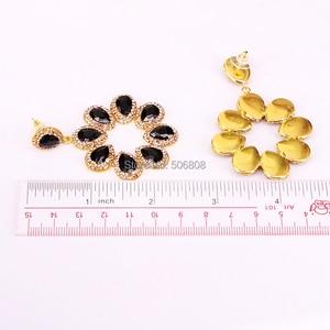 Image 4 - 4 Pairs ZYZ E8219 New Flower Shaped Cat Eye Stone High Quality Rhinestone Round Circle Earrings For Women