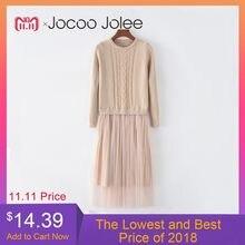 Jocoo Jolee di Inverno Coreano di Autunno Vestito Elegante Signore Delle  donne O Collo A Manica Lunga Lavorato A Maglia Midi . c29d52e1bf6