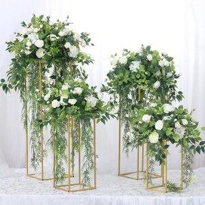 Image 2 - 10 pces casamento/mesa peça central flor vaso vasos de assoalho metal estrada chumbo flor suporte/pote/rack para casamento/festa decoração g0502