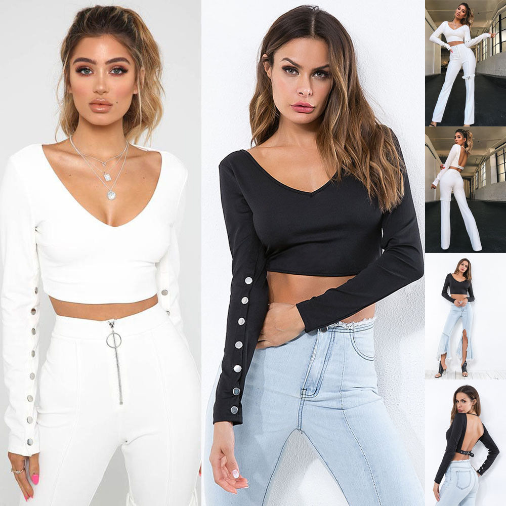Sexy Women Crop Tops Shirt Slim Ribbed V Neck Jumper Knitted Blouse Spring Autumn Backless Shirt Clothes