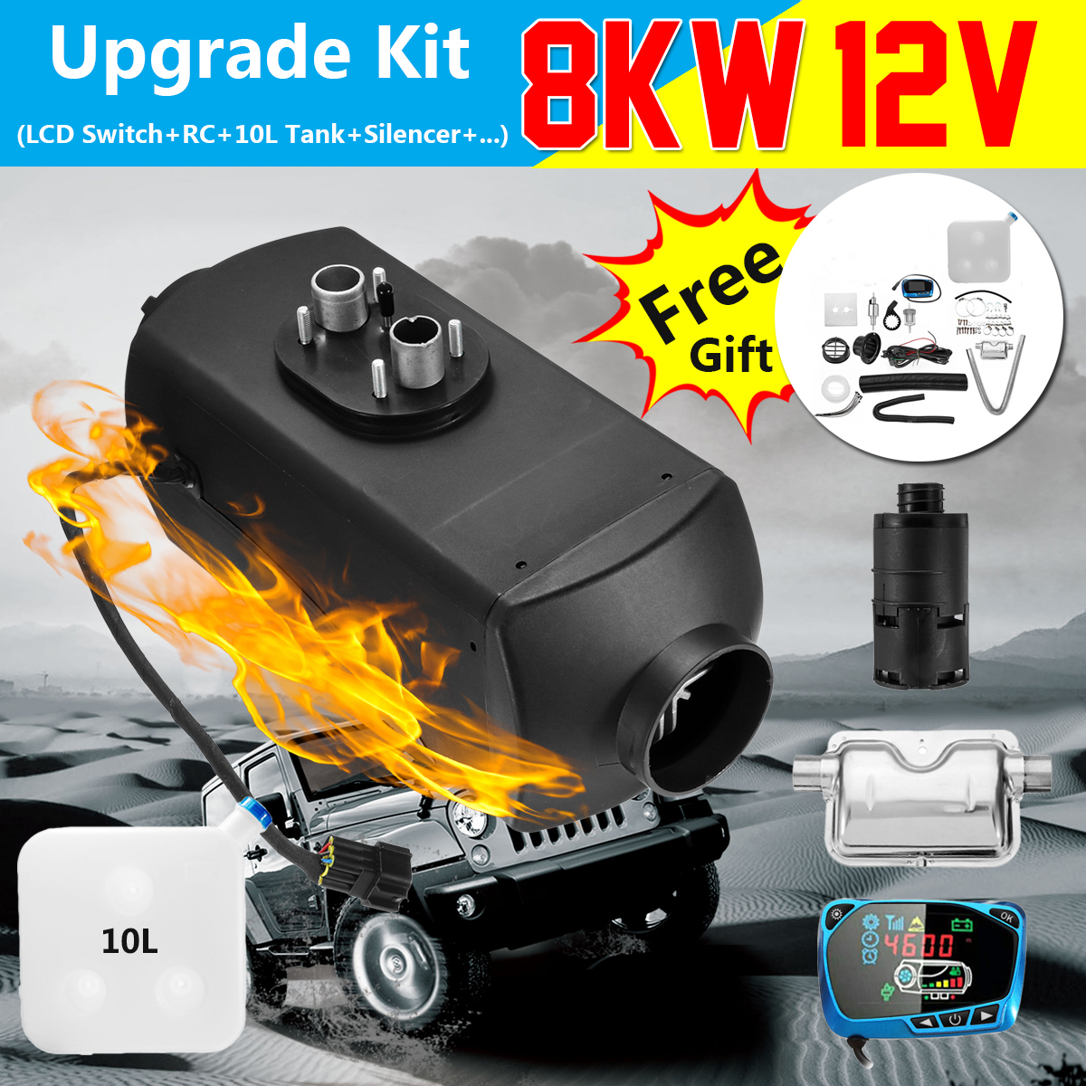 Air Diesel/Chauffe-8KW 12 V Planaire LCD pour la voiture Camions Bateaux Moteur-Maisons Dernière Kit Moniteur pour RV camping-car Remorque Avec Télécommande