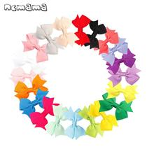 ncmama 40 Pcs/lot Hair Accessories Bows Clips for Baby Girls 3 Cute Solid Color Grosgrain Ribbon Hairgrips Kids Barrettes