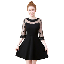 цены Sexy Women V-Neck Half Sleeve Party Mini Dresses Elegant O-neck Hollow Out Lace Dress Female A-line Vestidos Plus Size 5XL