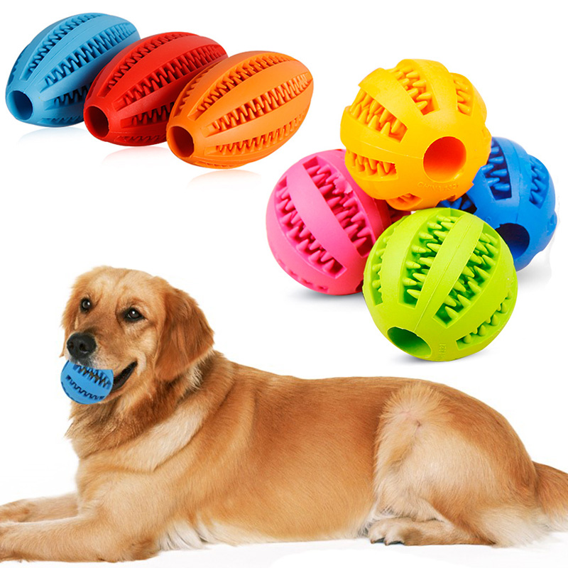 Dog Toys Home & Garden Useful Sale 1pc New Cat Dog Tooth Ceaning Rugby Pet Toy 7colors Natural Rubber Puppy Chew Toys Balls Interactive Pet Products Clear And Distinctive