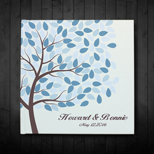 На заказ белая свадебная книга для гостей, дерево-голубые листья с персонализированным именем и датой гостей, свадебный подарок для пары