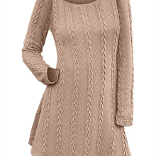 18909537527 STYLE Spring Long Sleeve Cable Knit Sweater Dress O Neck Long Casual Solid  Criss
