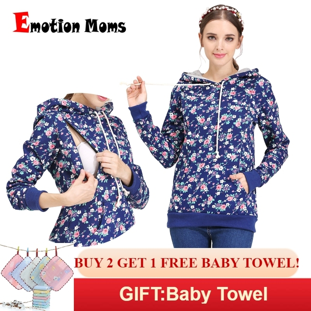 38efba0b153e5 Emotion Moms 100% cotton Winter Maternity Clothes nursing T-shirt Breastfeeding  tops Maternity Hoodie sweater for Pregnant Women