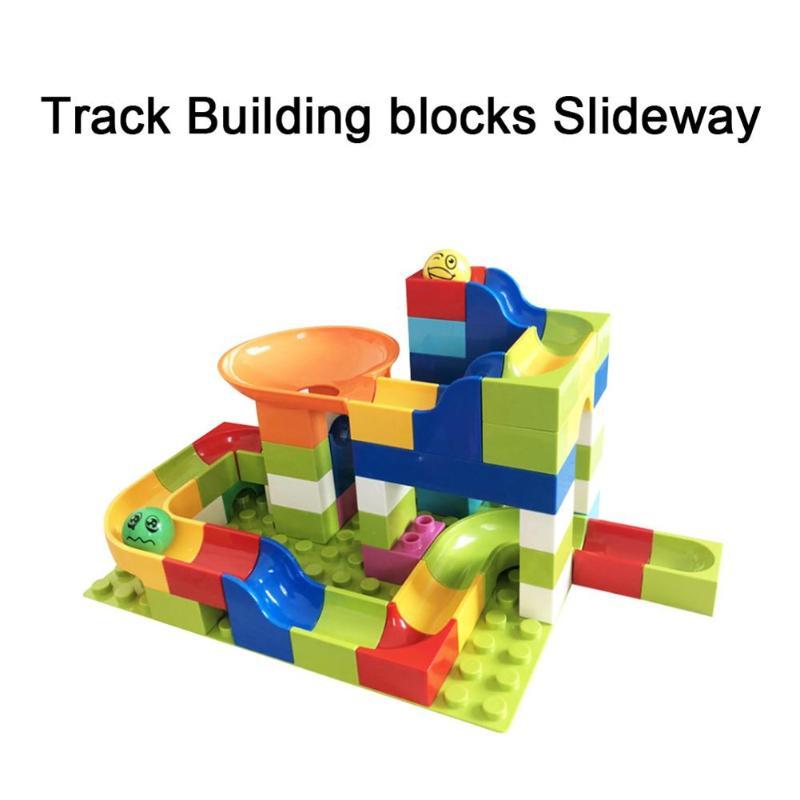 New Marble Race Run Maze Balls Track Building Blocks Funnel Slide Big Size Building Brick Compatible Legoed Duploed For kids Gif