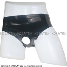 Black Sexy Latex Underwear With Holes In Front Rubber Briefs Panties Underpants DK-0026