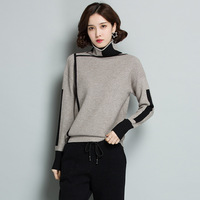 Neploe Panelled Turtleneck Women Tops Sweaters Long Sleeve Thick Korean Sueter Mujer Knitted 2019 Autumn Fashion Pullovers