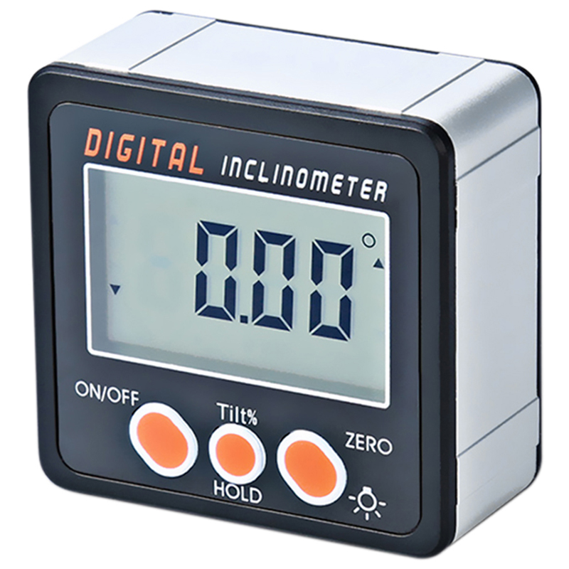 Hot-Digital Inclinometer 0-360 Angle Triangle Ruler Electronic Protractor Aluminum Alloy Shell Box Angle Gauge Meter Magnets B