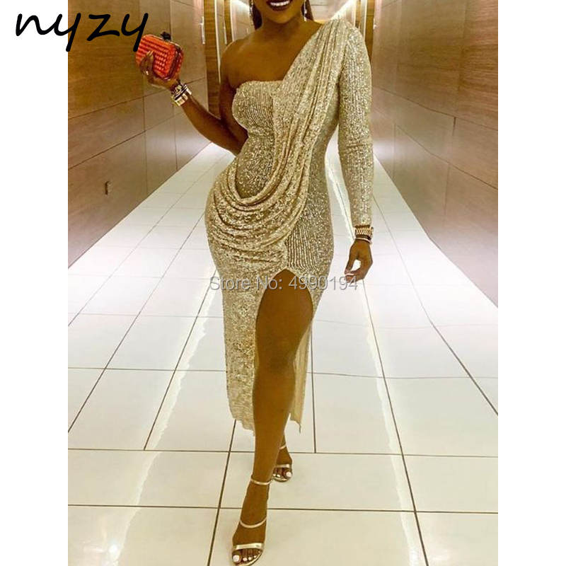 NYZY C82 Bling Sequins Robe Cocktail Dresses Sexy High Leg Slit One Long Sleeve Formal Dress Party Dress Vestidos Coctel 2019