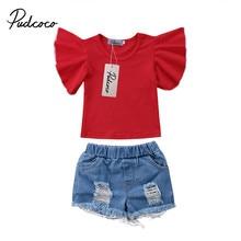 2 piezas bastante recién nacido Niño niños de manga corta bebé niña de Tops  camiseta Denim Pantalones cortos vaqueros traje de r. ee9c6d2db0e5