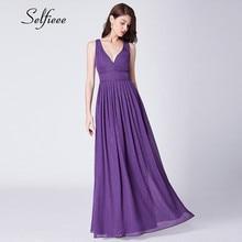 New Purple Party Dresses Women Evening Elegant A Line V Neck Backless Sparkly Long Chiffon Dress Summer Beach Maxi Dress Ladies