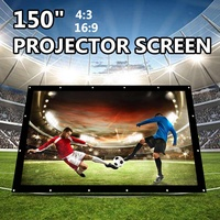 150 Inch Foldable Projection Screen Portable Front & Rear Polyester Projector Screen 4:3 Outdoor Travel Home Theater Wall Mount