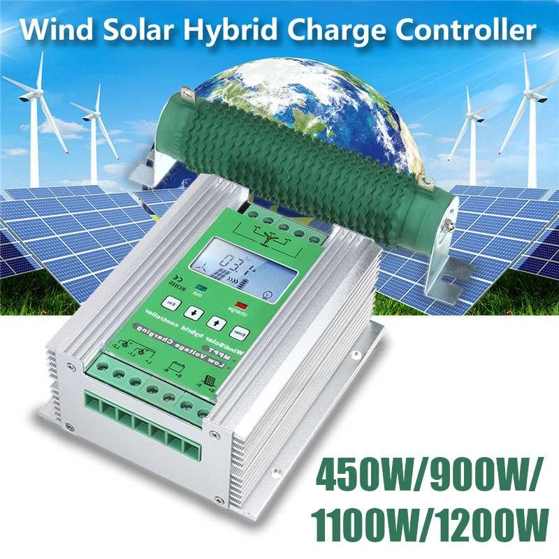 1200 W/1100 W/900 W/450 W MPPT vent solaire hybride Boost contrôleur de Charge vent pour chargeur de turbine 12 V 24 V appliquer + résistance de chargeur de décharge
